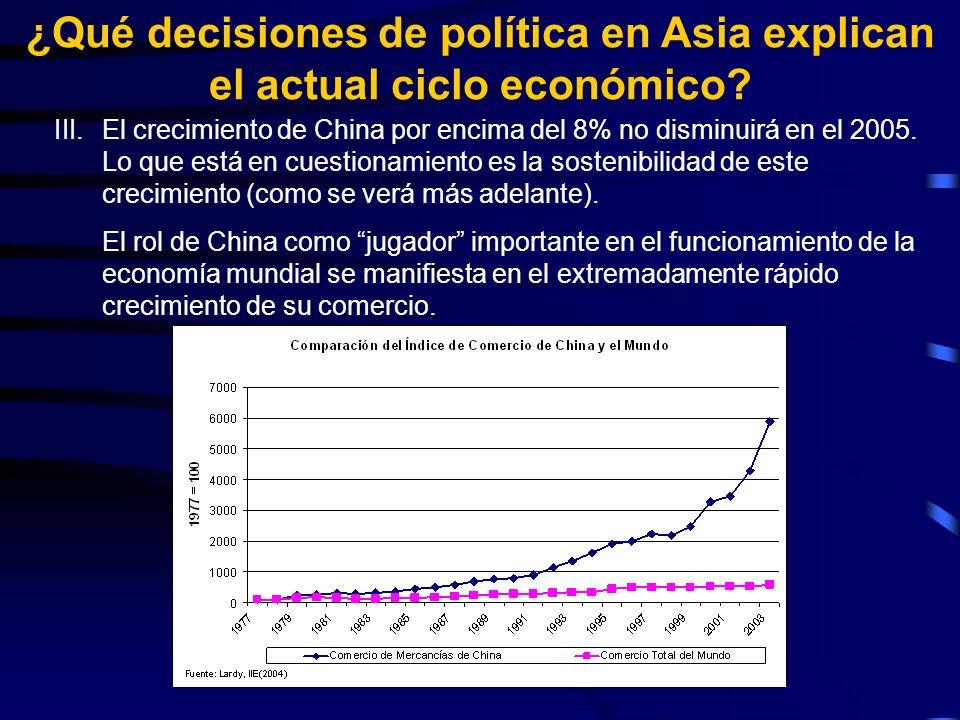 III.El crecimiento de China por encima del 8% no disminuirá en el 2005.