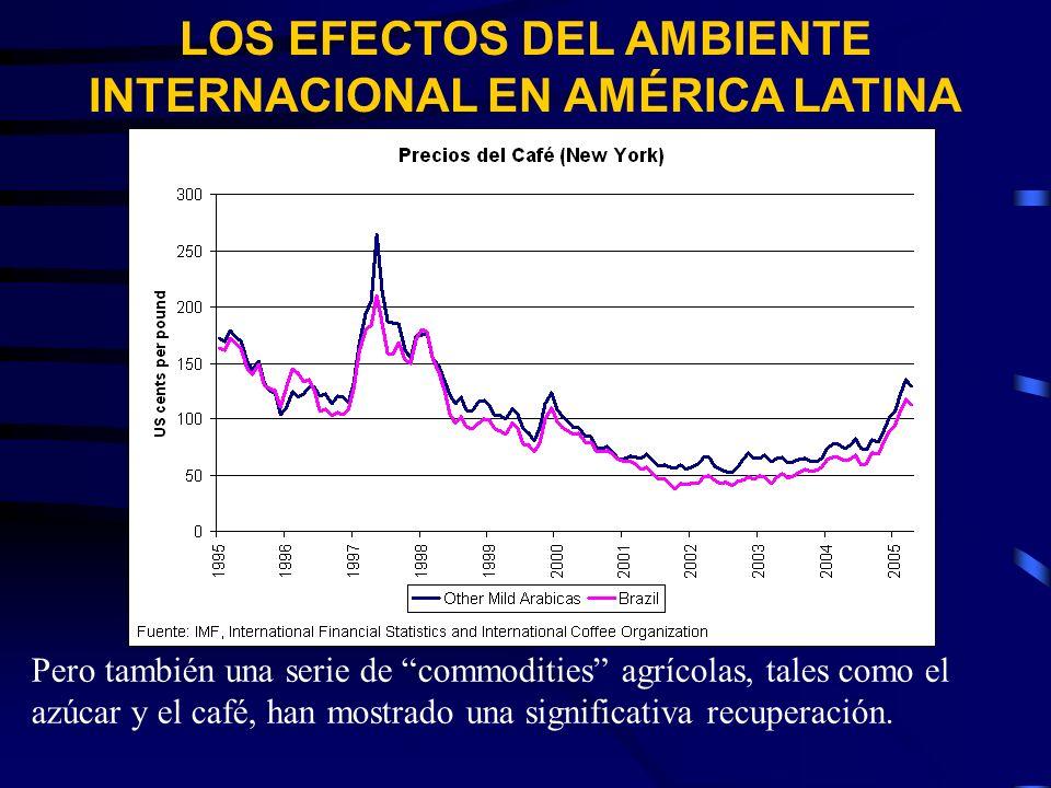 LOS EFECTOS DEL AMBIENTE INTERNACIONAL EN AMÉRICA LATINA Pero también una serie de commodities agrícolas, tales como el azúcar y el café, han mostrado una significativa recuperación.