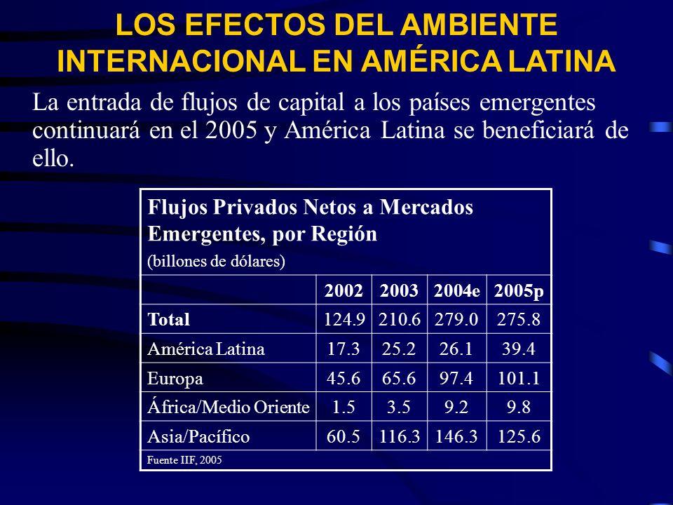 La entrada de flujos de capital a los países emergentes continuará en el 2005 y América Latina se beneficiará de ello.