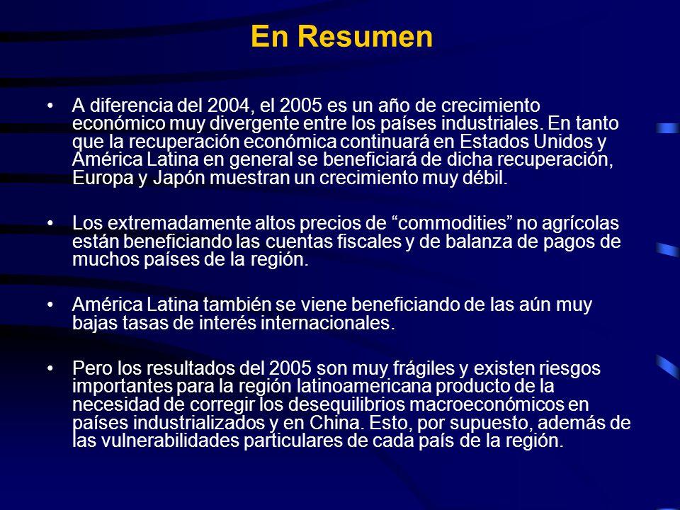 En Resumen A diferencia del 2004, el 2005 es un año de crecimiento económico muy divergente entre los países industriales.