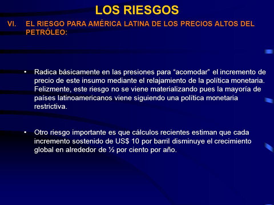 LOS RIESGOS VI.EL RIESGO PARA AMÉRICA LATINA DE LOS PRECIOS ALTOS DEL PETRÓLEO: Radica básicamente en las presiones para acomodar el incremento de precio de este insumo mediante el relajamiento de la política monetaria.