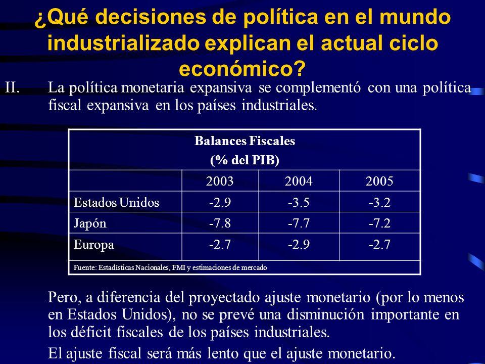 II.La política monetaria expansiva se complementó con una política fiscal expansiva en los países industriales.