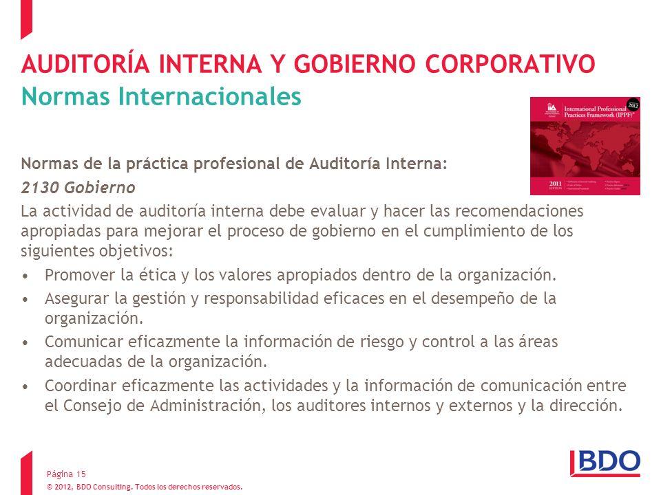 Página 15 AUDITORÍA INTERNA Y GOBIERNO CORPORATIVO Normas Internacionales Normas de la práctica profesional de Auditoría Interna: 2130 Gobierno La act