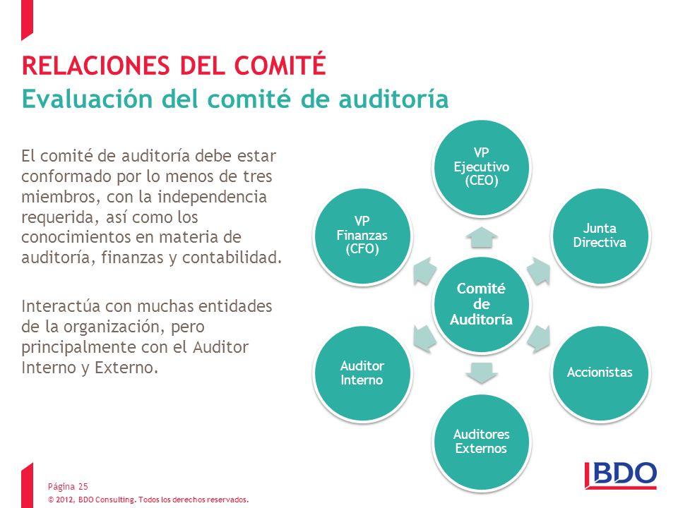© 2012, BDO Consulting. Todos los derechos reservados. RELACIONES DEL COMITÉ Evaluación del comité de auditoría El comité de auditoría debe estar conf