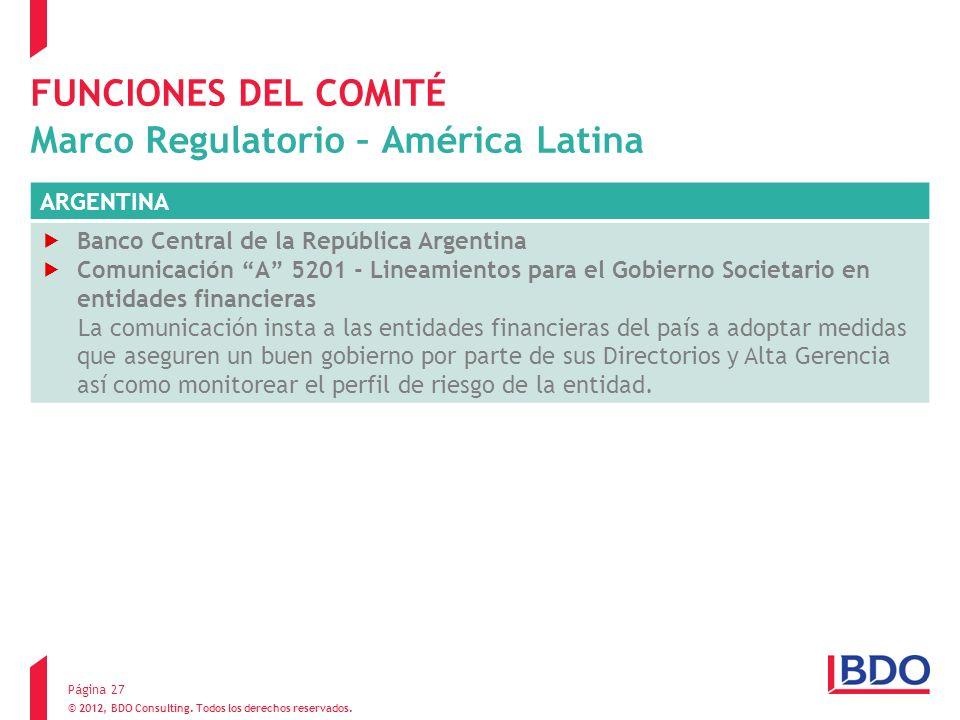 © 2012, BDO Consulting. Todos los derechos reservados. FUNCIONES DEL COMITÉ Marco Regulatorio – América Latina Página 27 ARGENTINA Banco Central de la