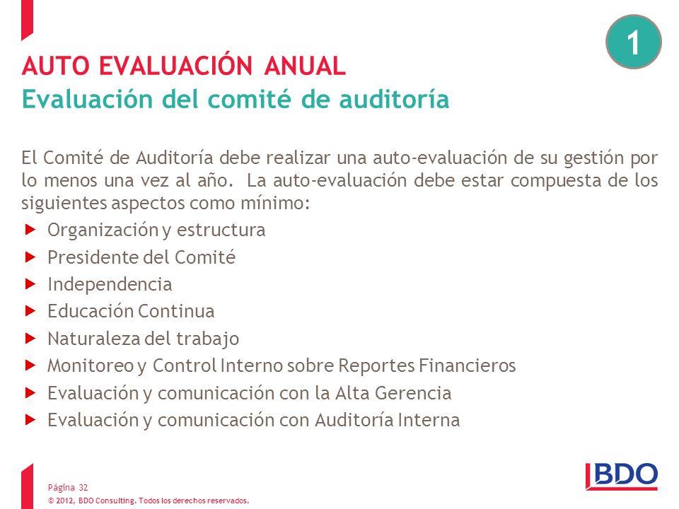 © 2012, BDO Consulting. Todos los derechos reservados. AUTO EVALUACIÓN ANUAL Evaluación del comité de auditoría El Comité de Auditoría debe realizar u