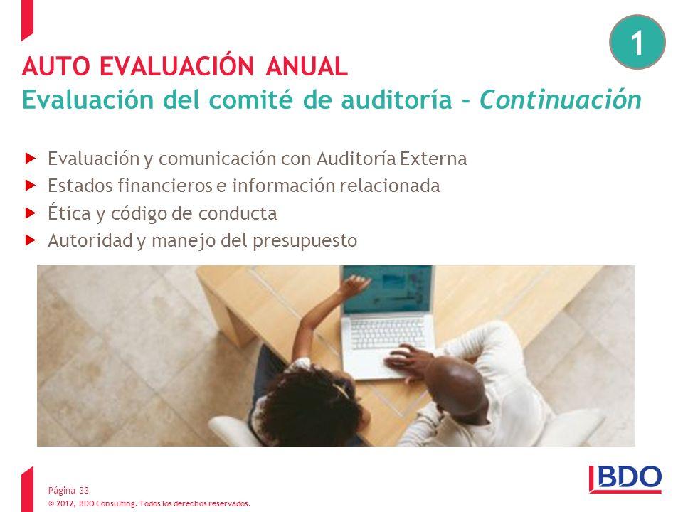 © 2012, BDO Consulting. Todos los derechos reservados. AUTO EVALUACIÓN ANUAL Evaluación del comité de auditoría - Continuación Evaluación y comunicaci