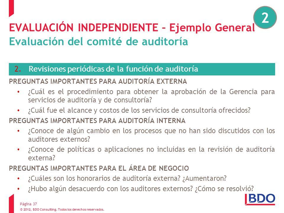 © 2012, BDO Consulting. Todos los derechos reservados. EVALUACIÓN INDEPENDIENTE – Ejemplo General Evaluación del comité de auditoría 2.Revisiones peri