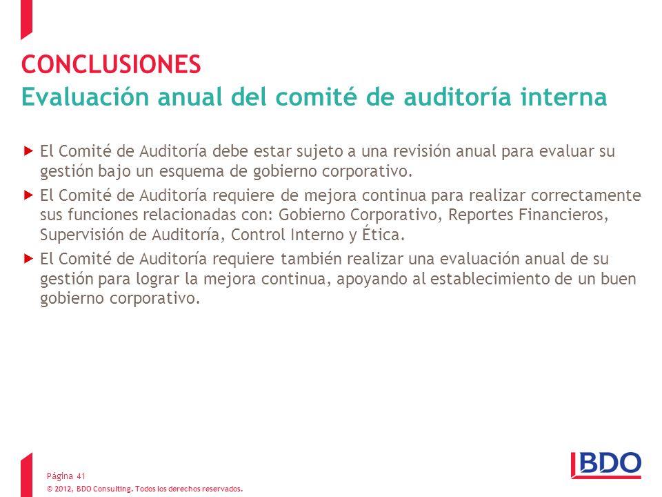 CONCLUSIONES Evaluación anual del comité de auditoría interna El Comité de Auditoría debe estar sujeto a una revisión anual para evaluar su gestión ba