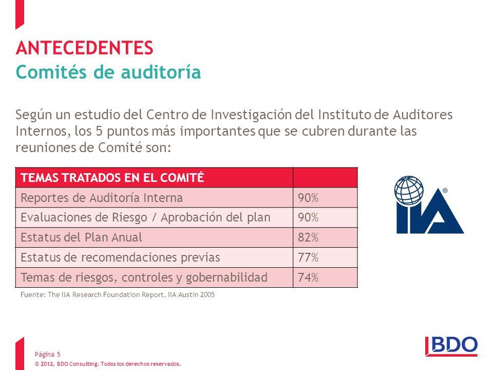 © 2012, BDO Consulting. Todos los derechos reservados. TEMAS TRATADOS EN EL COMITÉ Reportes de Auditoría Interna90% Evaluaciones de Riesgo / Aprobació
