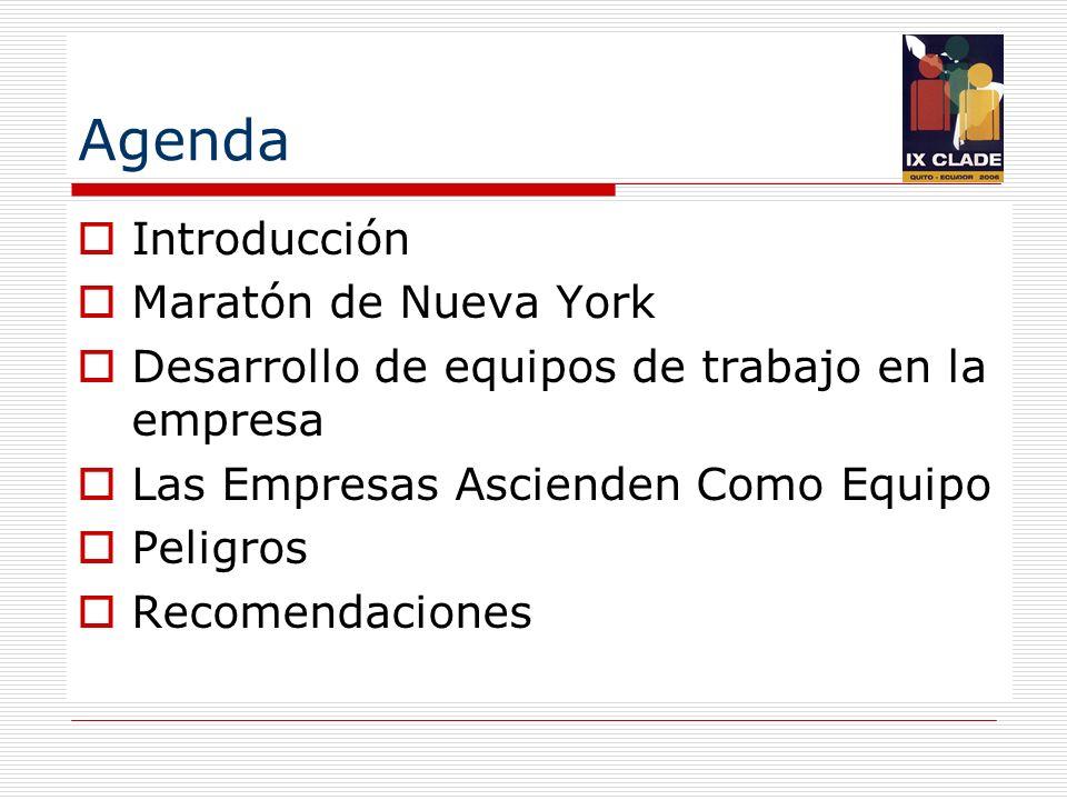 Agenda Introducción Maratón de Nueva York Desarrollo de equipos de trabajo en la empresa Las Empresas Ascienden Como Equipo Peligros Recomendaciones