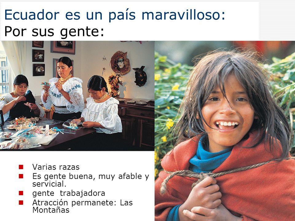 Ecuador es un país maravilloso: Por sus gente: Varias razas Es gente buena, muy afable y servicial. gente trabajadora Atracción permanete: Las Montaña