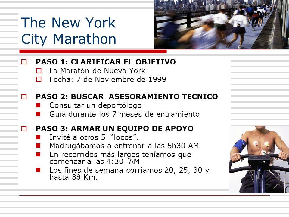 PASO 1: CLARIFICAR EL OBJETIVO La Maratón de Nueva York Fecha: 7 de Noviembre de 1999 PASO 2: BUSCAR ASESORAMIENTO TECNICO Consultar un deportólogo Gu