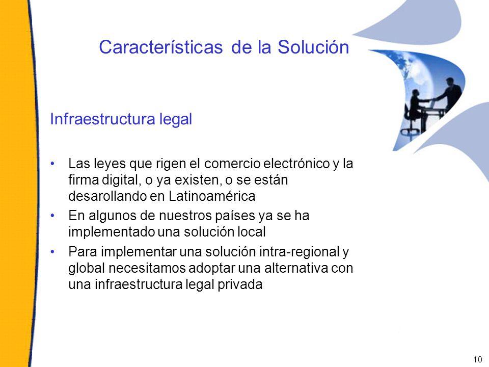 Características de la Solución Infraestructura legal Las leyes que rigen el comercio electrónico y la firma digital, o ya existen, o se están desaroll