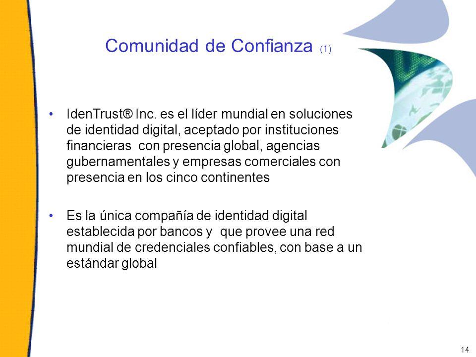 Comunidad de Confianza (1) IdenTrust® Inc. es el líder mundial en soluciones de identidad digital, aceptado por instituciones financieras con presenci