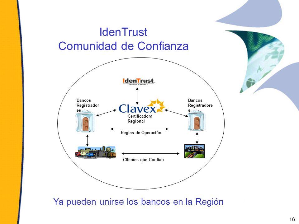 IdenTrust Comunidad de Confianza Ya pueden unirse los bancos en la Región Certificadora Regional Reglas de Operación Bancos Registradore s Clientes qu