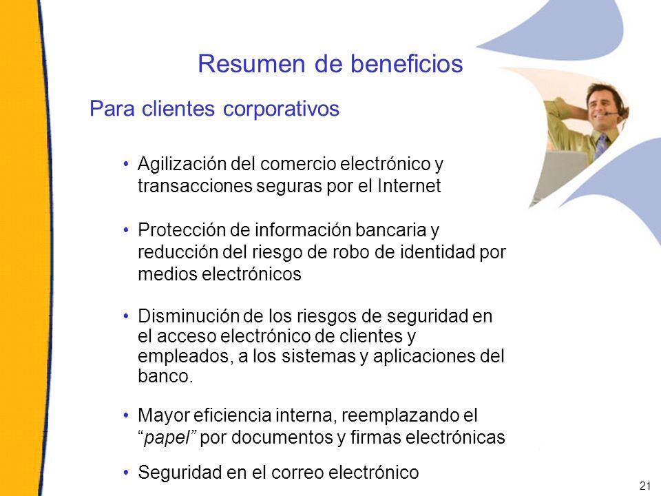 Resumen de beneficios Para clientes corporativos Agilización del comercio electrónico y transacciones seguras por el Internet Protección de informació