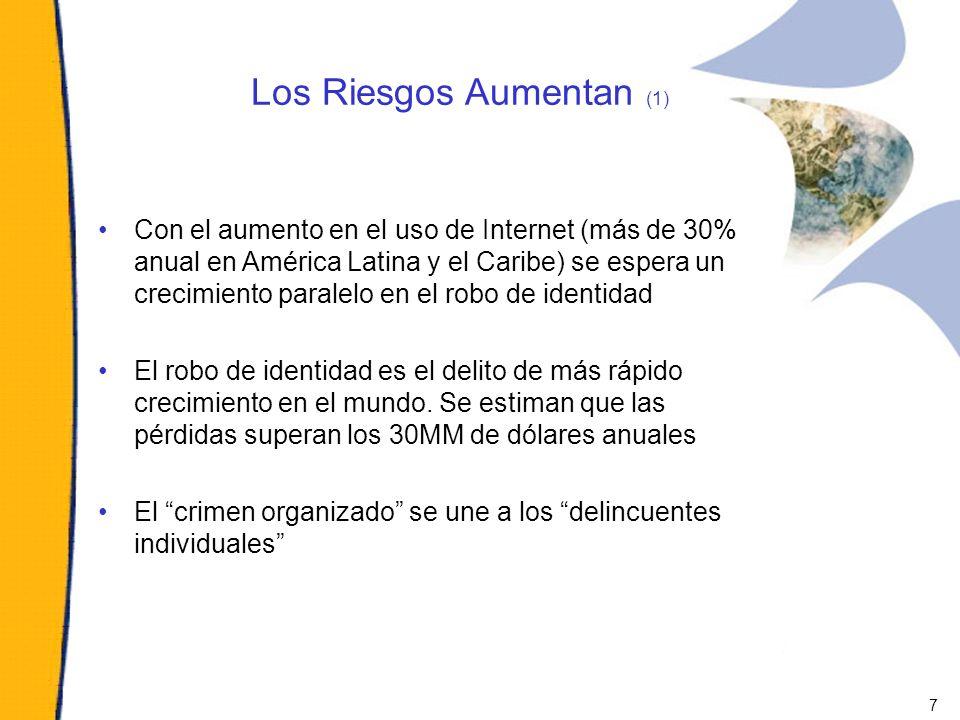 Los Riesgos Aumentan (1) Con el aumento en el uso de Internet (más de 30% anual en América Latina y el Caribe) se espera un crecimiento paralelo en el
