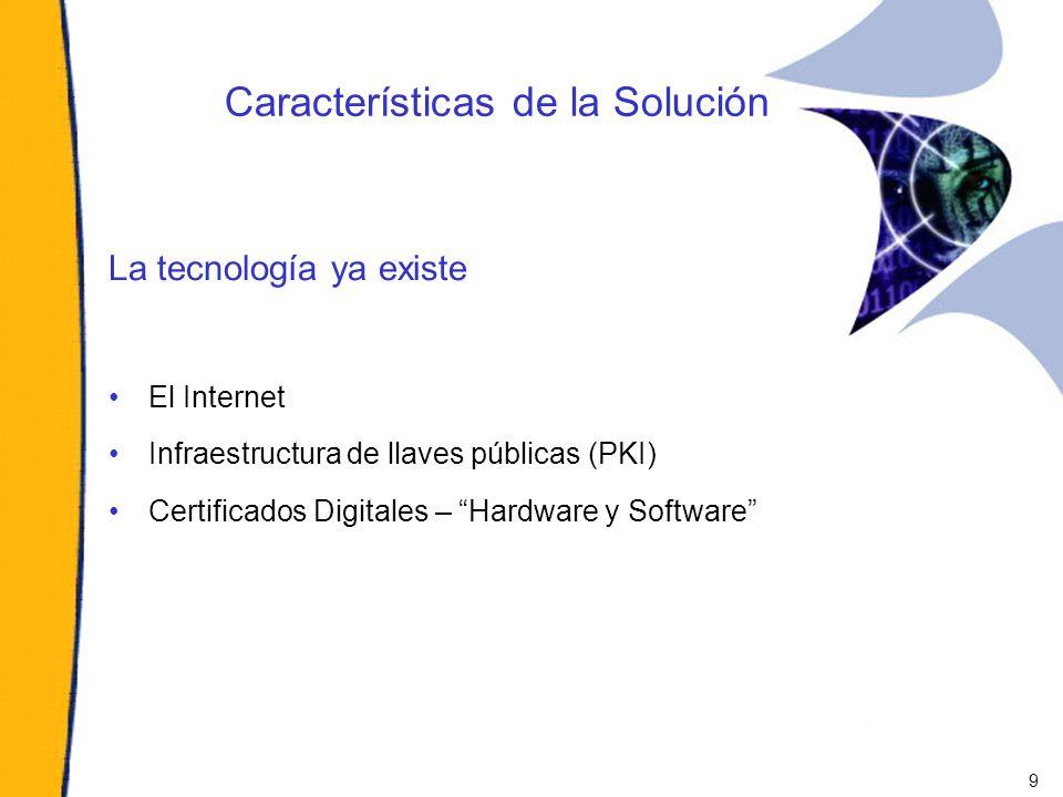 Características de la Solución La tecnología ya existe El Internet Infraestructura de llaves públicas (PKI) Certificados Digitales – Hardware y Softwa