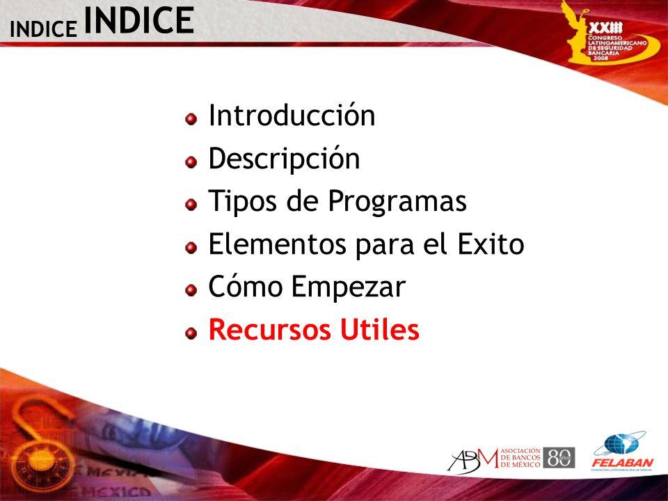 INDICE Introducción Descripción Tipos de Programas Elementos para el Exito Cómo Empezar Recursos Utiles INDICE