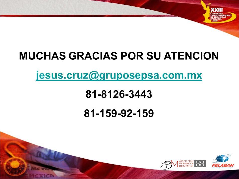 MUCHAS GRACIAS POR SU ATENCION jesus.cruz@gruposepsa.com.mx 81-8126-3443 81-159-92-159