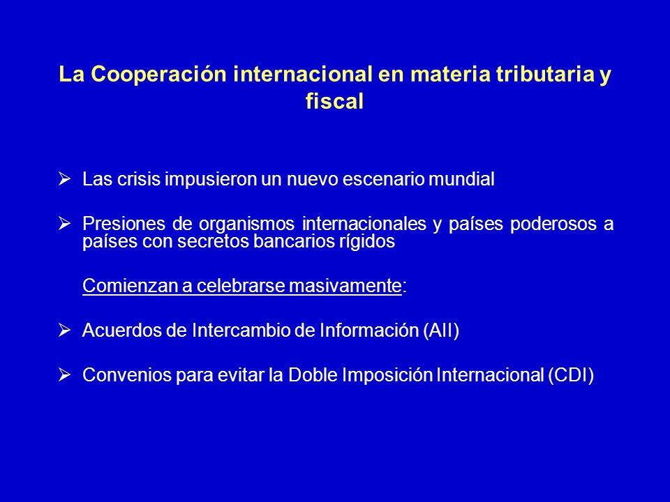 La Cooperación internacional en materia tributaria y fiscal Las crisis impusieron un nuevo escenario mundial Presiones de organismos internacionales y