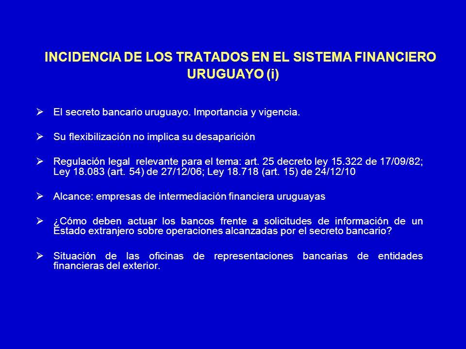 INCIDENCIA DE LOS TRATADOS EN EL SISTEMA FINANCIERO URUGUAYO (i) El secreto bancario uruguayo. Importancia y vigencia. Su flexibilización no implica s