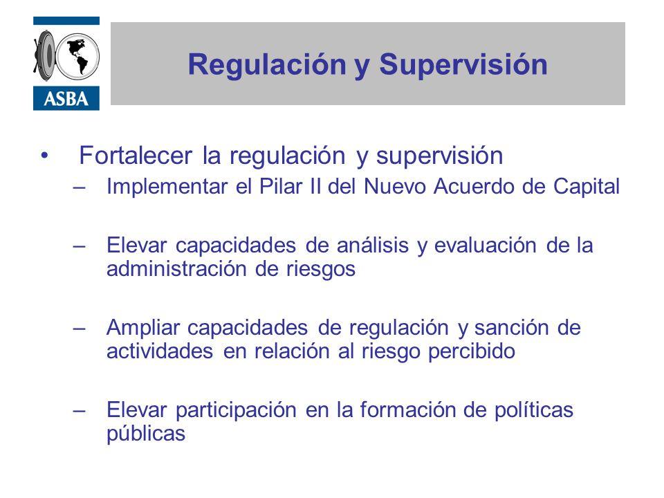 Regulación y Supervisión Fortalecer la regulación de la administración de capital y de liquidez –Evitar el sobre apalancamiento –Liquidez del mercado vs.