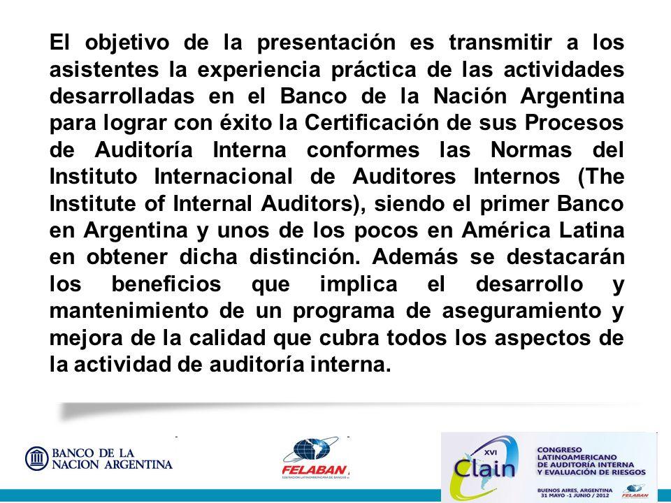 Posicionamiento y evolución del BNA en el Sistema Financiero Argentino Presentación de la Auditoría General Comentarios sobre la Evaluación de Calidad Enumeración de las tareas realizadas Reseña resultados encuestas Clientes y Auditados Presentación realizada por los Evaluadores Externos Reflexiones y consejos Agenda