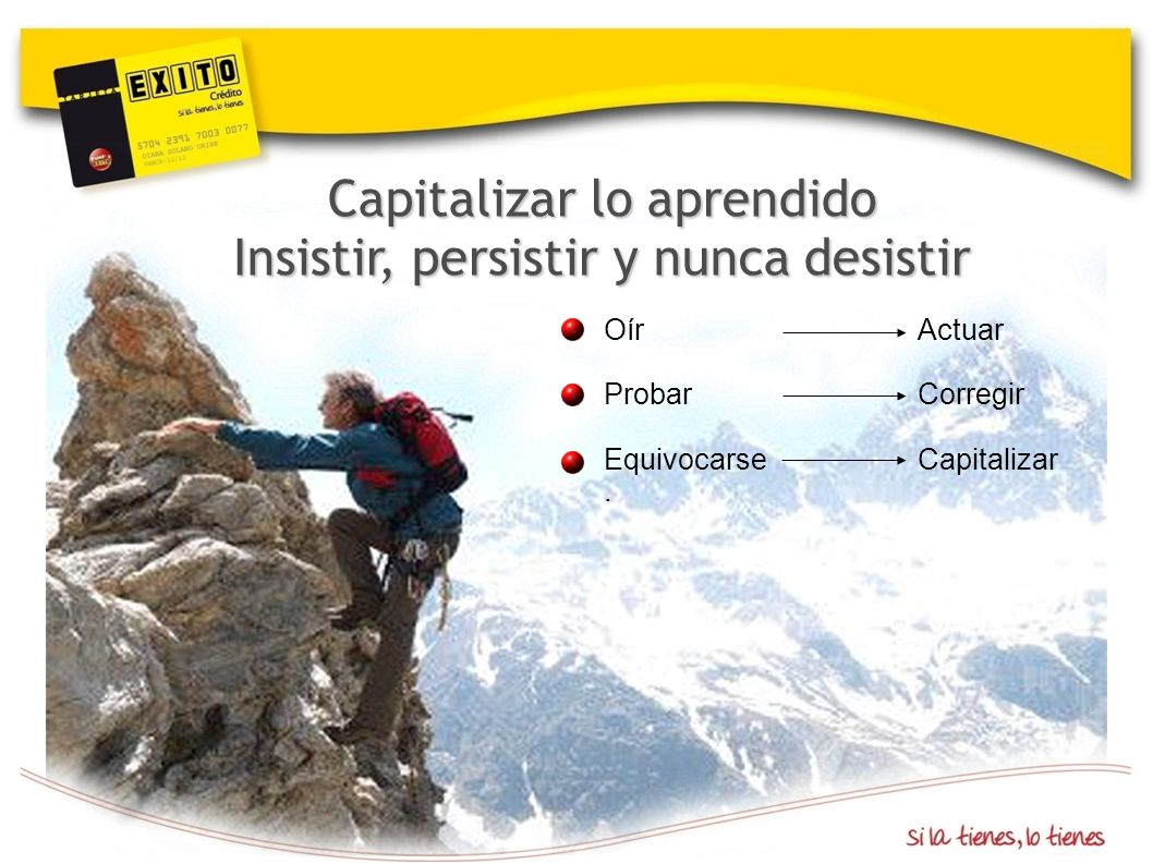 Capitalizar lo aprendido Insistir, persistir y nunca desistir Oír Actuar Probar Corregir Equivocarse Capitalizar.