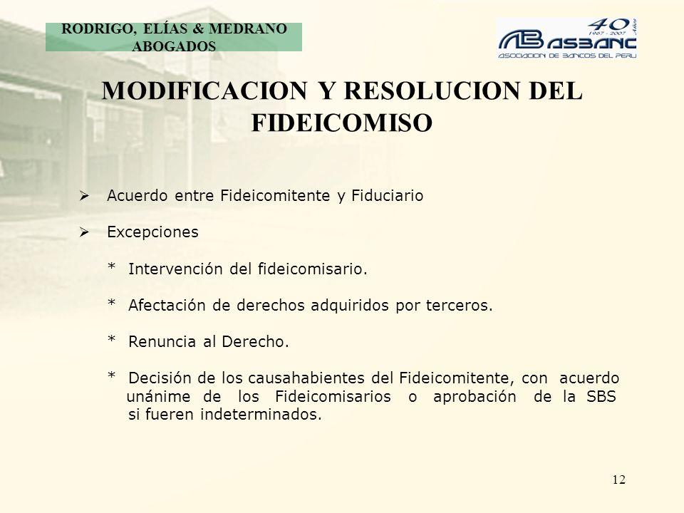 12 MODIFICACION Y RESOLUCION DEL FIDEICOMISO Acuerdo entre Fideicomitente y Fiduciario Excepciones * Intervención del fideicomisario. * Afectación de