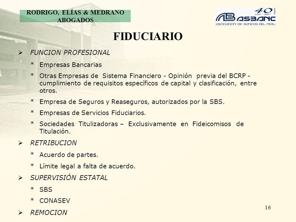 16 FIDUCIARIO FUNCION PROFESIONAL *Empresas Bancarias *Otras Empresas de Sistema Financiero - Opinión previa del BCRP - cumplimiento de requisitos esp