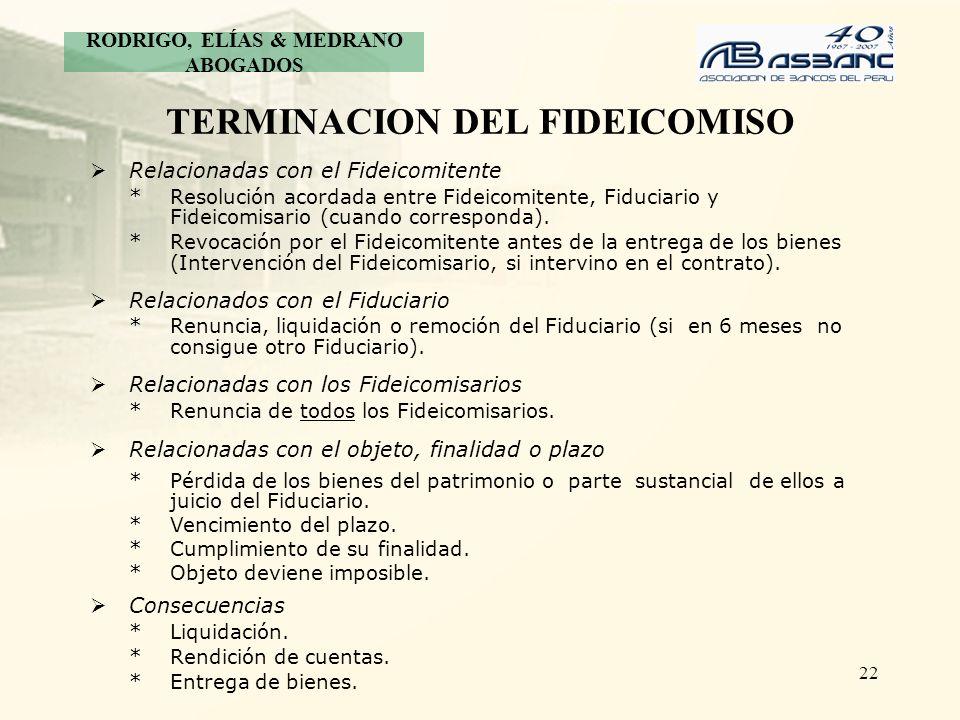 22 TERMINACION DEL FIDEICOMISO Relacionadas con el Fideicomitente *Resolución acordada entre Fideicomitente, Fiduciario y Fideicomisario (cuando corre