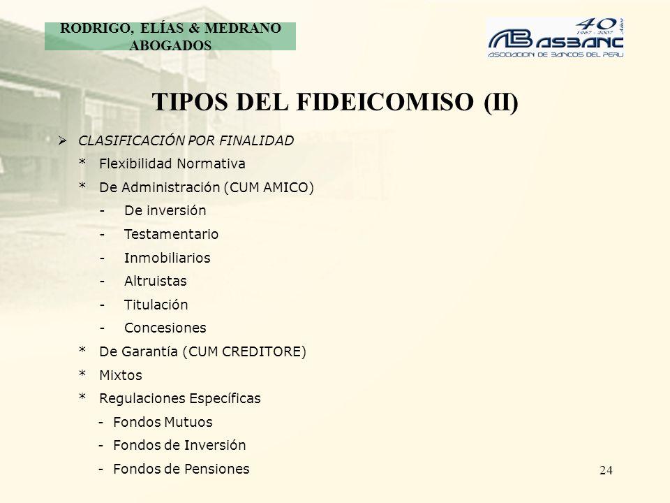 24 TIPOS DEL FIDEICOMISO (II) CLASIFICACIÓN POR FINALIDAD *Flexibilidad Normativa *De Administración (CUM AMICO) - De inversión -Testamentario -Inmobi