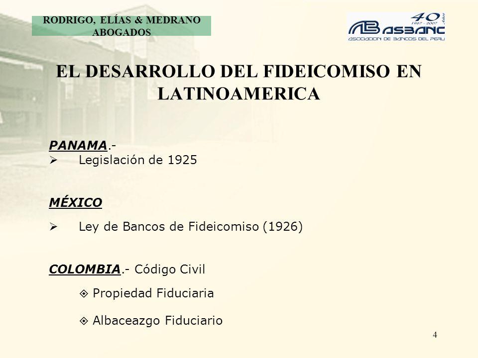 4 EL DESARROLLO DEL FIDEICOMISO EN LATINOAMERICA RODRIGO, ELÍAS & MEDRANO ABOGADOS PANAMA.- Legislación de 1925 MÉXICO Ley de Bancos de Fideicomiso (1