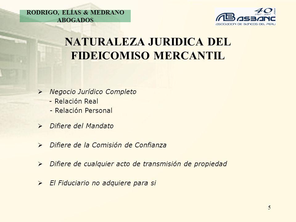 5 NATURALEZA JURIDICA DEL FIDEICOMISO MERCANTIL Negocio Jurídico Completo - Relación Real - Relación Personal Difiere del Mandato Difiere de la Comisi