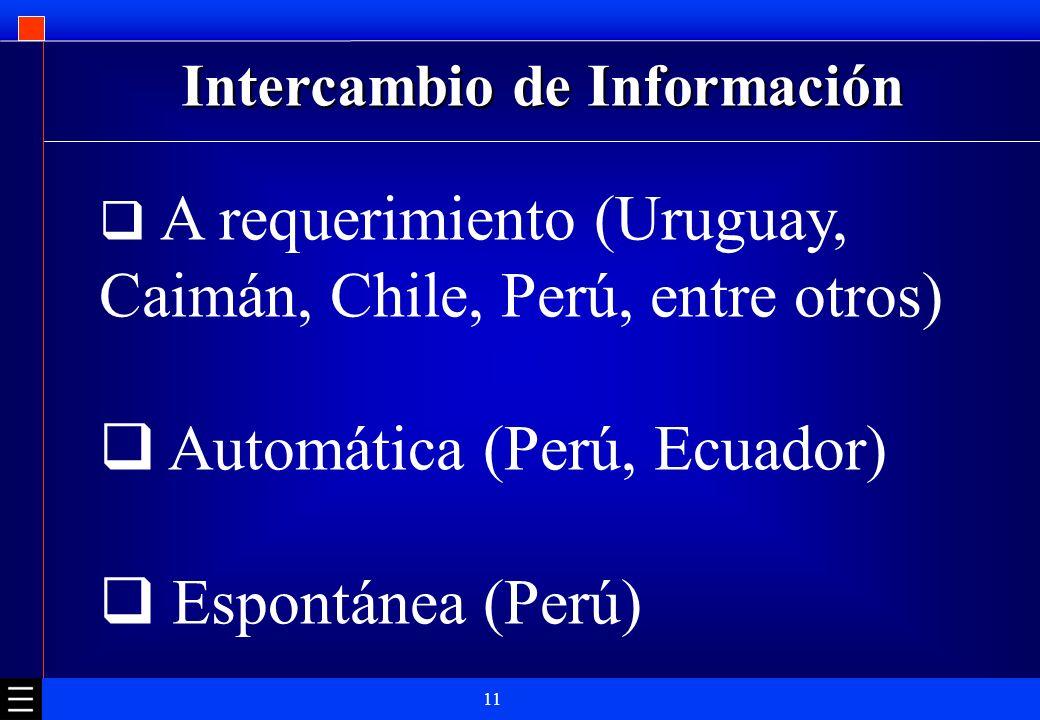 11 Intercambio de Información A requerimiento (Uruguay, Caimán, Chile, Perú, entre otros) Automática (Perú, Ecuador) Espontánea (Perú)
