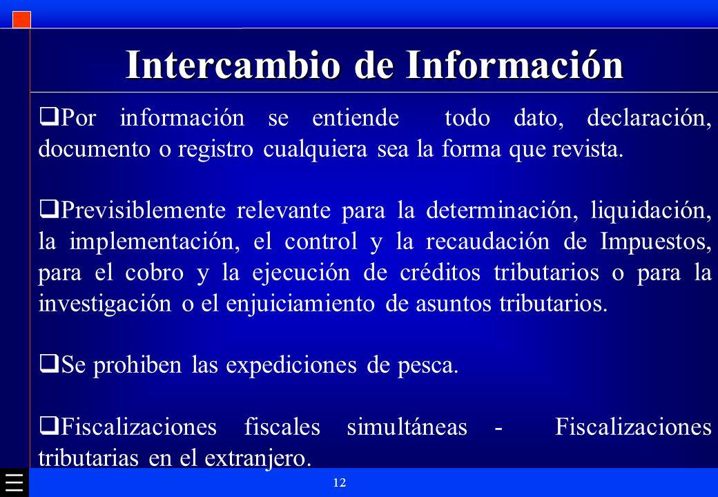 12 Intercambio de Información Por información se entiende todo dato, declaración, documento o registro cualquiera sea la forma que revista. Previsible