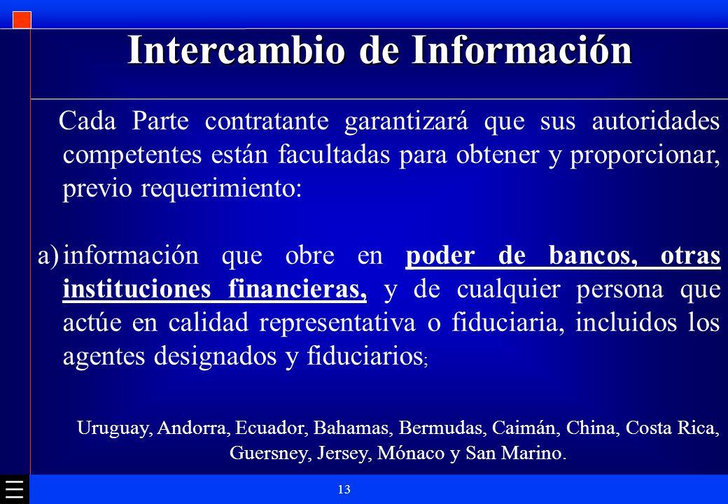 13 Intercambio de Información Cada Parte contratante garantizará que sus autoridades competentes están facultadas para obtener y proporcionar, previo