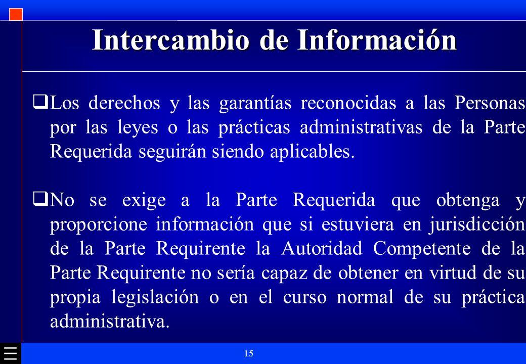 15 Intercambio de Información Los derechos y las garantías reconocidas a las Personas por las leyes o las prácticas administrativas de la Parte Requer