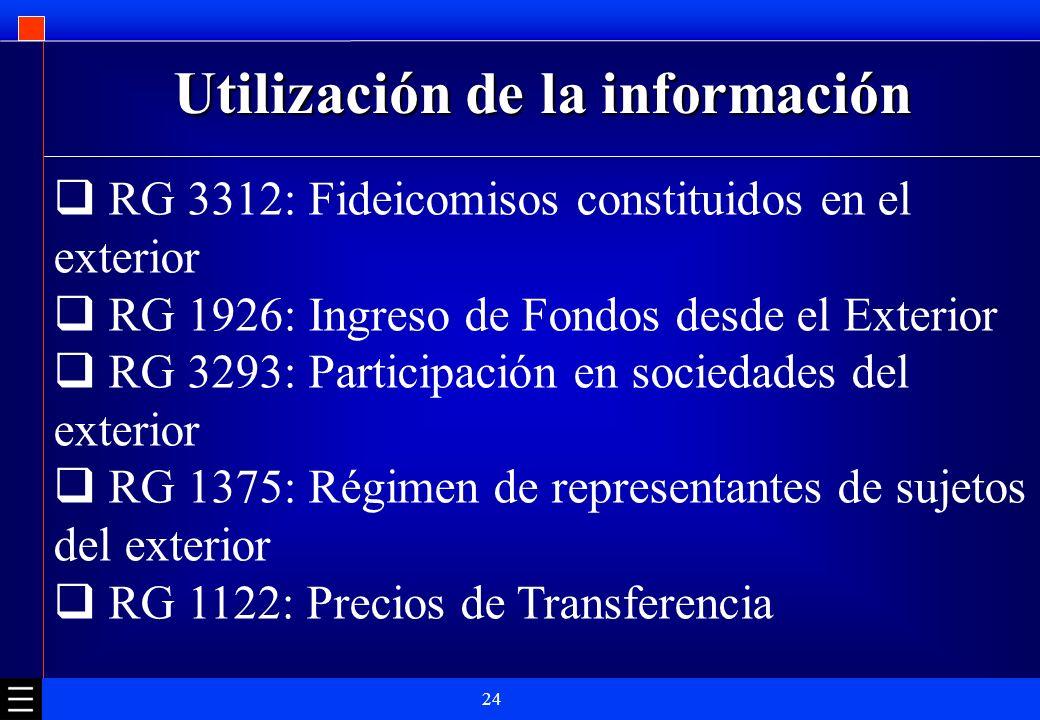 24 Utilización de la información RG 3312: Fideicomisos constituidos en el exterior RG 1926: Ingreso de Fondos desde el Exterior RG 3293: Participación