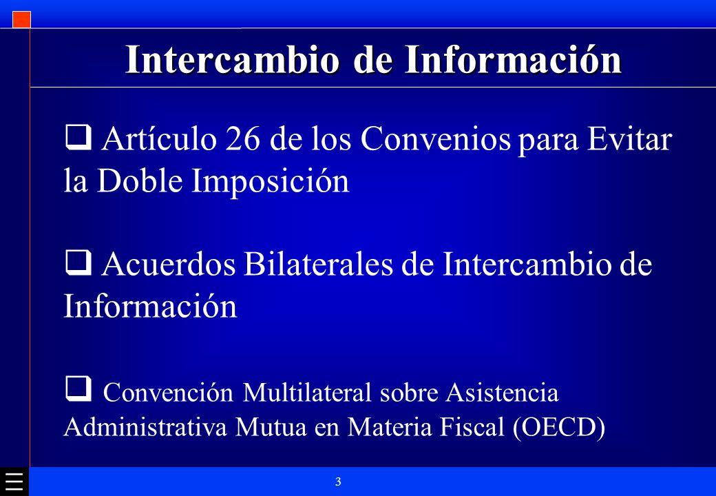 3 Intercambio de Información Artículo 26 de los Convenios para Evitar la Doble Imposición Acuerdos Bilaterales de Intercambio de Información Convenció