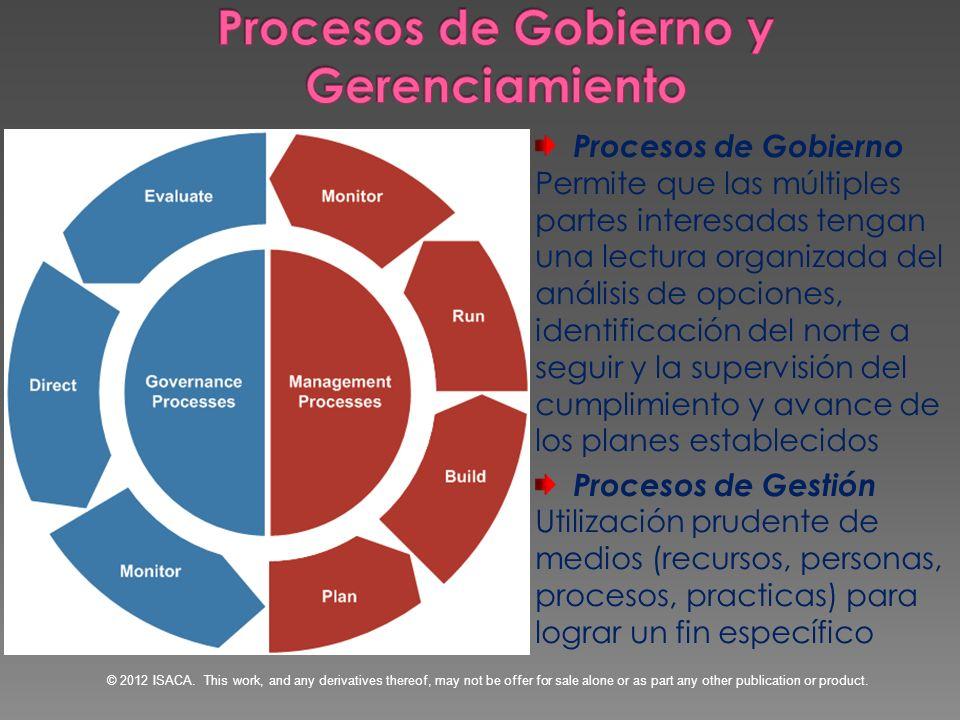 Procesos de Gobierno Permite que las múltiples partes interesadas tengan una lectura organizada del análisis de opciones, identificación del norte a s