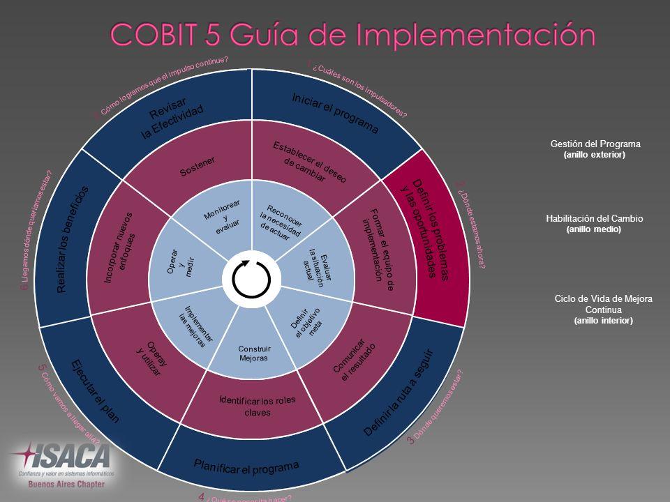 Gestión del Programa (anillo exterior) Habilitación del Cambio (anillo medio) Ciclo de Vida de Mejora Continua (anillo interior)