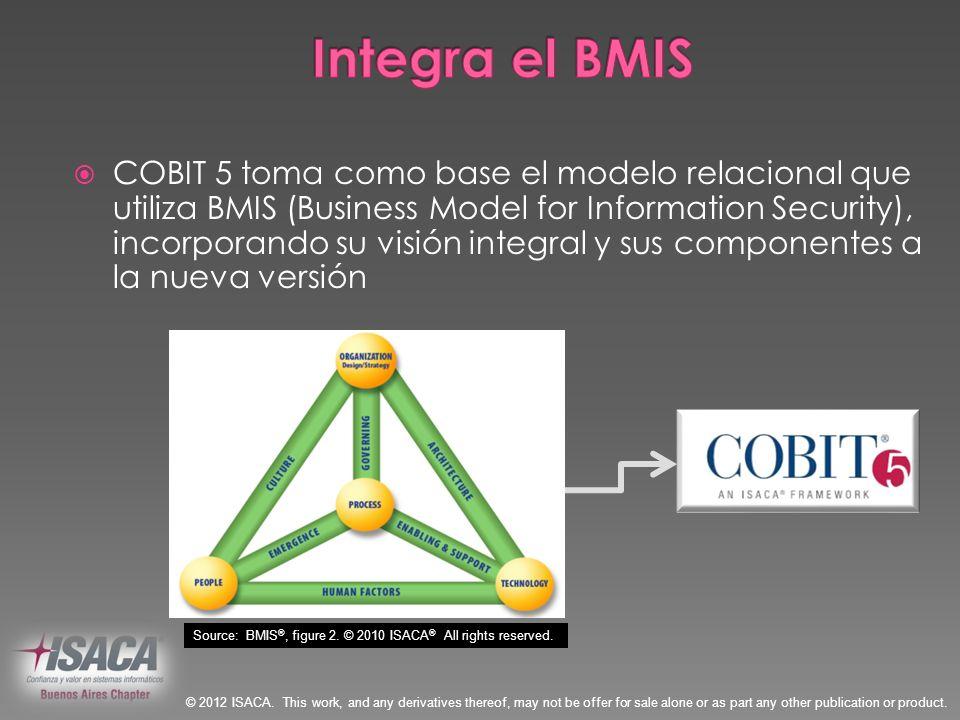 COBIT 5 toma como base el modelo relacional que utiliza BMIS (Business Model for Information Security), incorporando su visión integral y sus componen