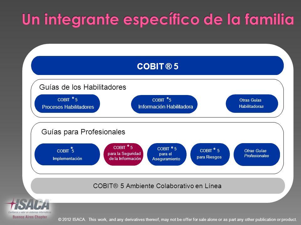 COBIT ® 5 Implementación Otras Guías Profesionales COBIT® 5Ambiente Colaborativo en Línea Guías de los Habilitadoress de COBIT® 5 COBIT ® 5 Procesos H