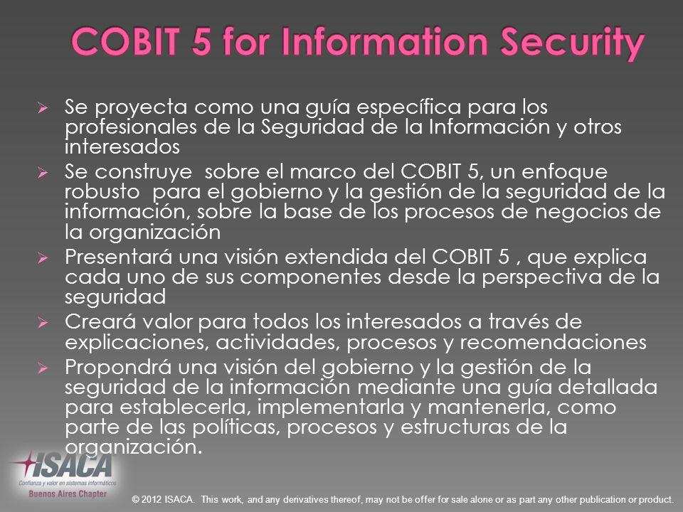 Se proyecta como una guía específica para los profesionales de la Seguridad de la Información y otros interesados Se construye sobre el marco del COBI