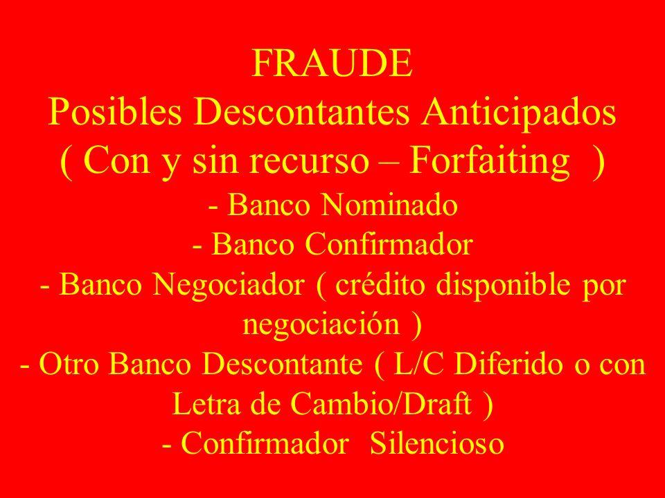 FRAUDE Posibles Descontantes Anticipados ( Con y sin recurso – Forfaiting ) - Banco Nominado - Banco Confirmador - Banco Negociador ( crédito disponib