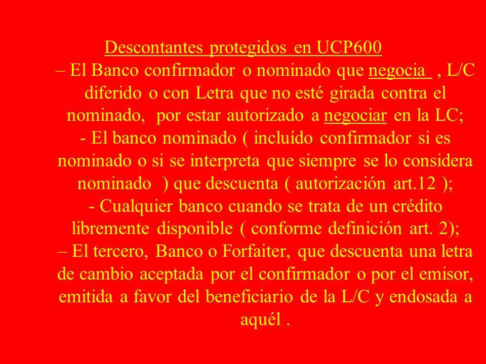 Descontantes protegidos en UCP600 – El Banco confirmador o nominado que negocia, L/C diferido o con Letra que no esté girada contra el nominado, por e