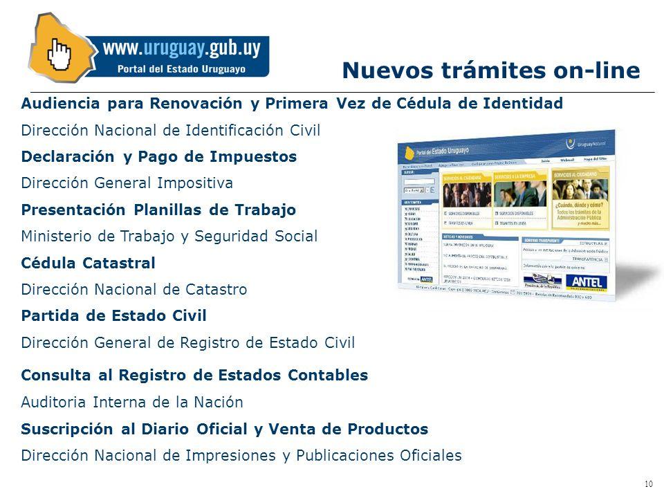 9 Trámites en Línea Torre de las Telecomunicaciones - Guatemala 1075 - Nivel 21 - CP 11800 - Teléfono (598 2) 928 59 00 - Montevideo - Uruguay